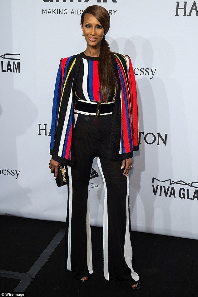 'I keep on 5 to 10 pounds above my jeans weight': Iman, pictured in Balmain, in New York in February 2015, told Yahoo Beauty her trick to looking youthful was to embrace some extra weight