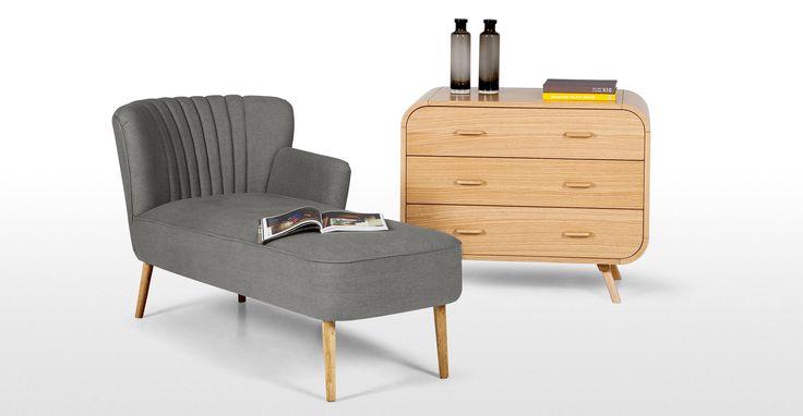 Jersey Left Hand facing Chaise, Graphite Grey   made.com