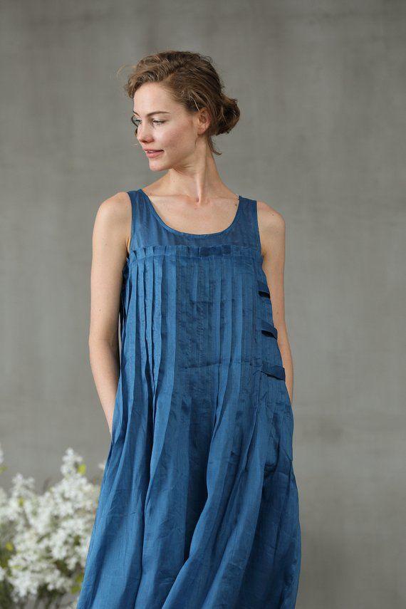 83439ab0d7c1 linen dress in blue maxi dress pintuck dress linen maxi