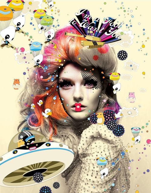 Creative graphic design with fashion photography