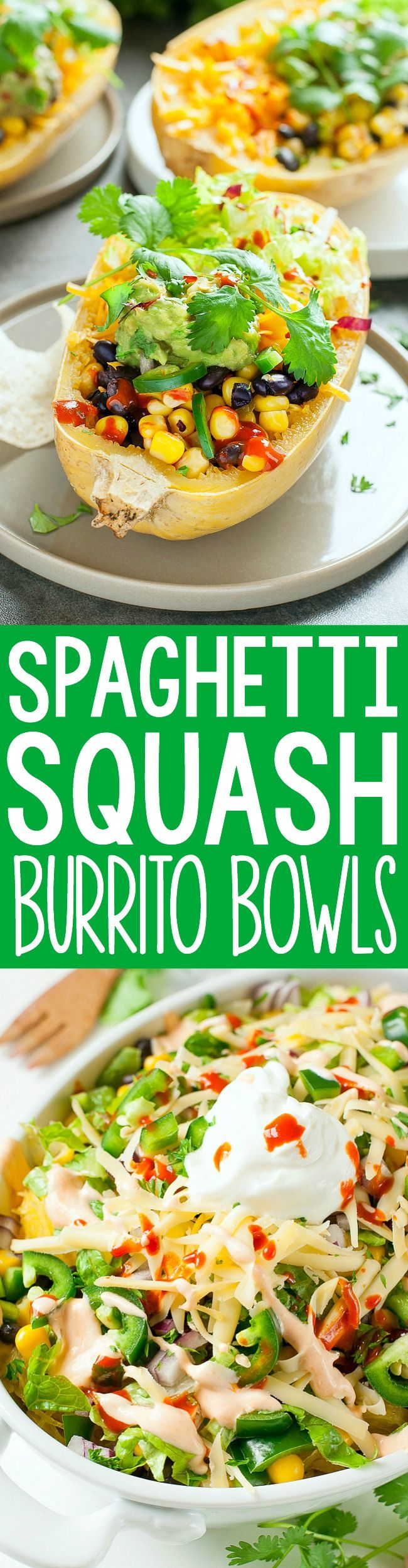 These Chipotle-Style Spaghetti Squash Burrito Bowls taste just like Chipotle's famed burrito bowls and are loaded with healthy whole food ingredients!
