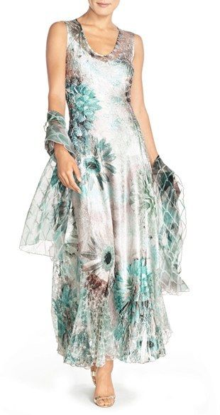 Women's Komarov Corset Back Charmeuse Gown With Shawl