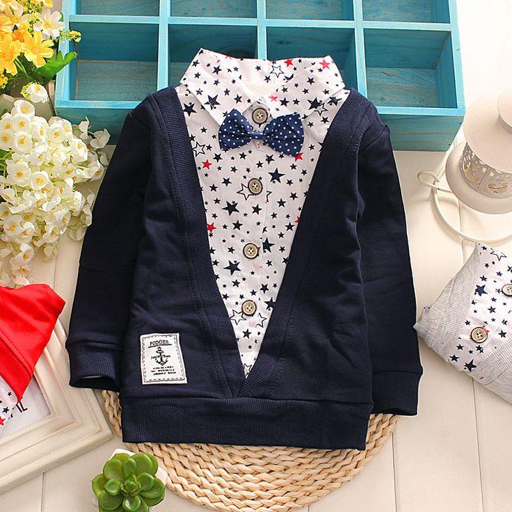 Поддельные два дна рубашки _ Spring 2016 детская одежда оптом детская футболки для мальчиков и девочек хлопка с длинными рукавами джентльмен поддельные два 549-- Alibaba