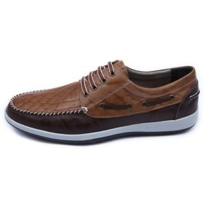 Men's two tone brown leather sneakers