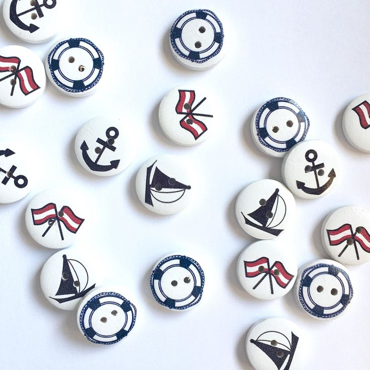 5 pcs of nautical buttons, mixed set of buttons, anchor button, navy button, life buoy button, wooden button, nutical button by cottonstoriesPL on Etsy