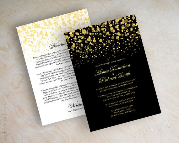 Black and gold polka dot wedding invitation door appleberryink, $1.00