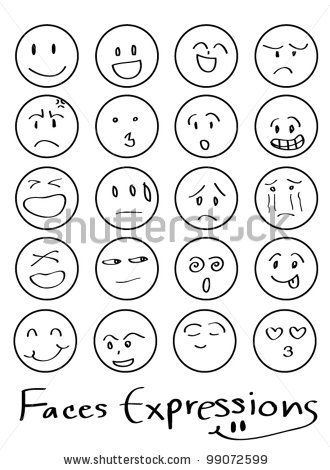 set of doodled cartoon faces in a variety of expressions by pockygallery, via ShutterStock