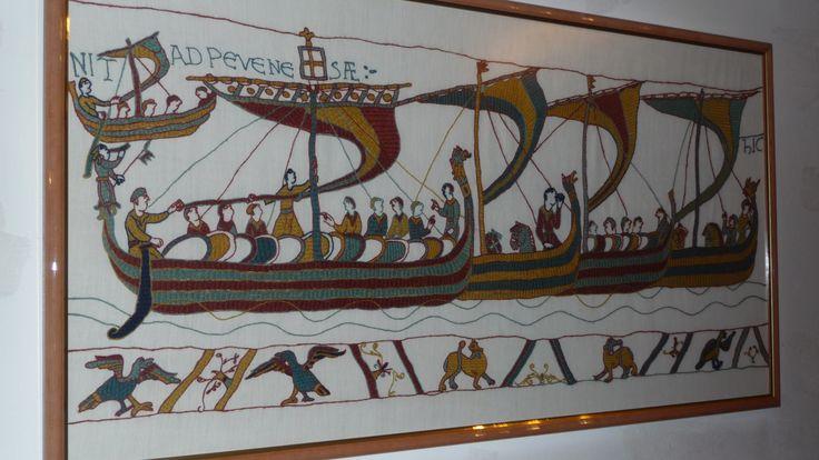 Les drakkars de la tapisserie de bayeux au point de bayeux mes realisations point de - Point p bayeux ...
