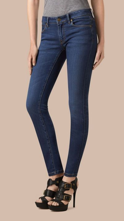 Mid indigo Skinny Fit Low-rise Power-stretch Jeans 1