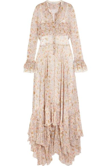 Philosophy di Lorenzo Serafini - Ruffled Floral-print Plissé-chiffon Maxi Dress - Cream - IT40
