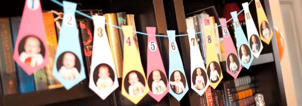 """1st birthday banner--Months 1-12 pictured on ties. So cute for a """"little man"""" party!"""