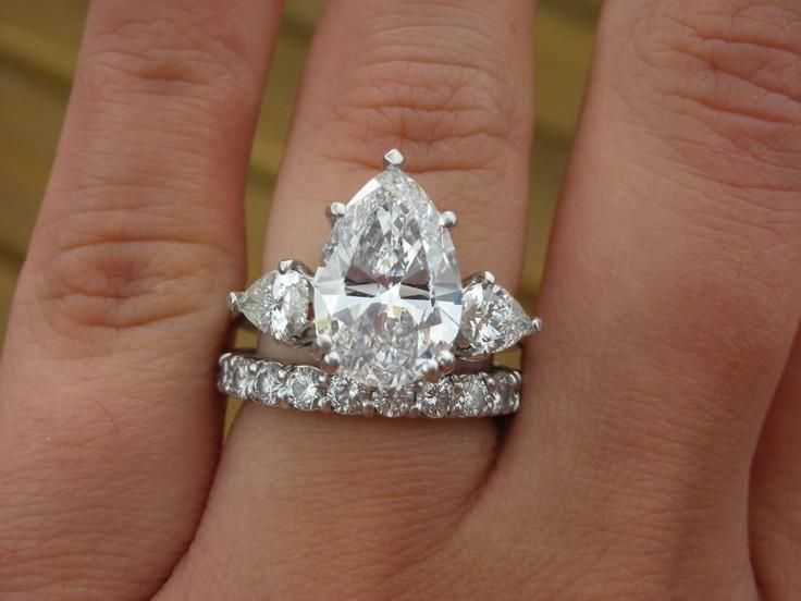 Three Stone Pear Diamond Ring.  That's One Lucky Lady!!!