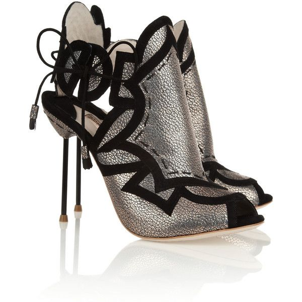 Sophia Webster Cutout metallic leather sandals (€195) ❤ liked on Polyvore featuring shoes, sandals, heels, zapatos, black, high heels, leather heeled sandals, black leather shoes, metallic high heel sandals and high heel sandals