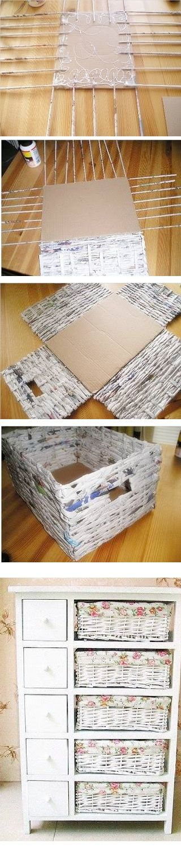 Materiais: jornais, palito de churrasco, cola, tesoura, tinta PVA, tecido.