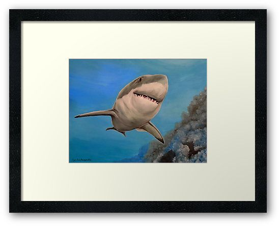 Framed art print, shark, painting,  underwater,world,scene,seascape,fish,wall,art,ocean,life,blue,turquoise,nature,sea,great white shark,tropical,deep,ocean,saltwater,jaws,wildlife,home,office,decor,beautiful,awesome,artwork,modern,aqua,blue,turquoise,beautiful,images,fine,art,oil,contemporary,realism,figurative,items,ideas,for sale,redbubble