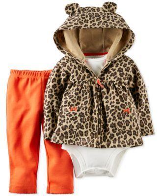Carter's Baby Girls' 3-Piece Hooded Cardigan, Bodysuit & Pants Set 12 mos