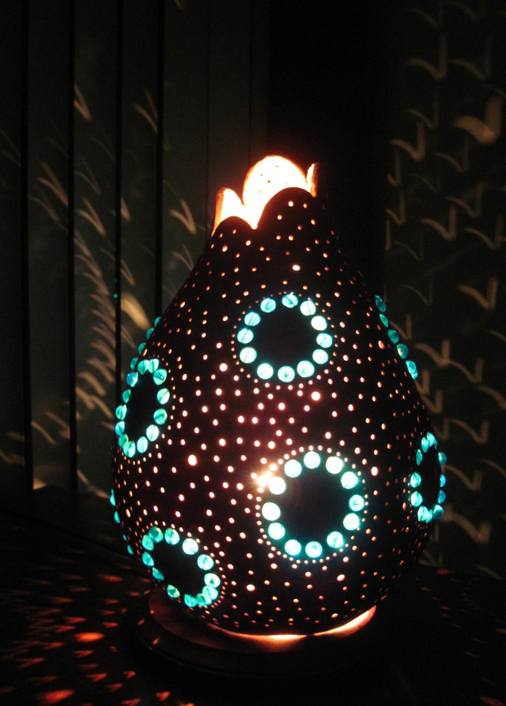 Hand Crafted Elegant Gourd Table Lamp With Large Blue Beaded Circles..  $85.00, Via