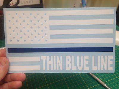THIN BLUE LINE AMERICAN FLAG LAW ENFORCEMENT/POLICE Vinyl Window Decal/ Sticker