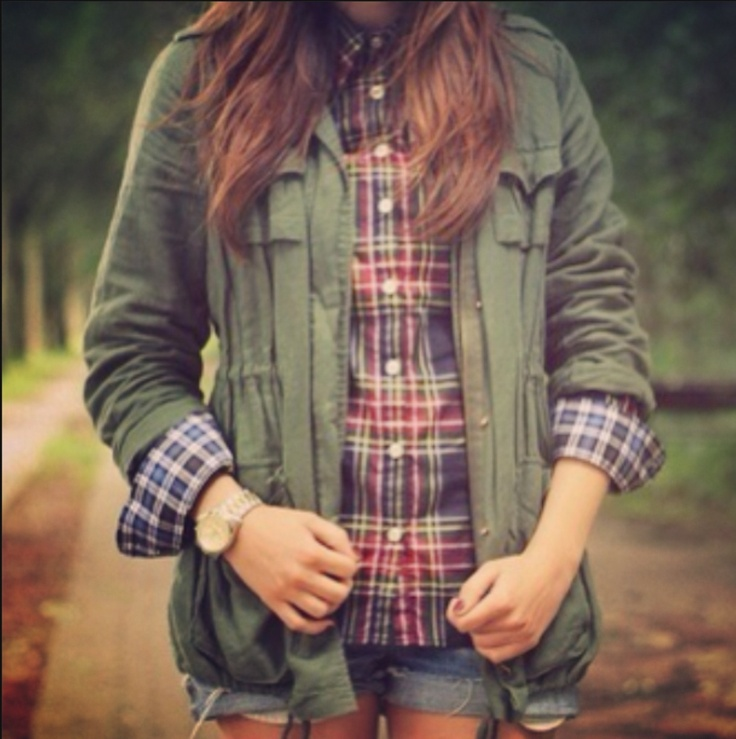 Love this plaid and army jacket combo! -Vicky