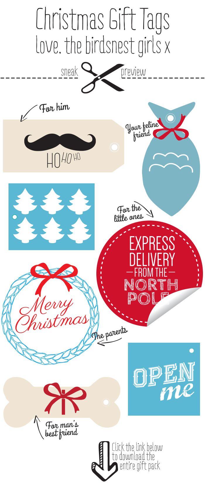 Freebie - Christmas Gift Tags - The Bird Bath