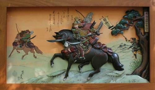 Картины (живопись) : 3 Д Картина Деревянная скульптура Самурай на коне