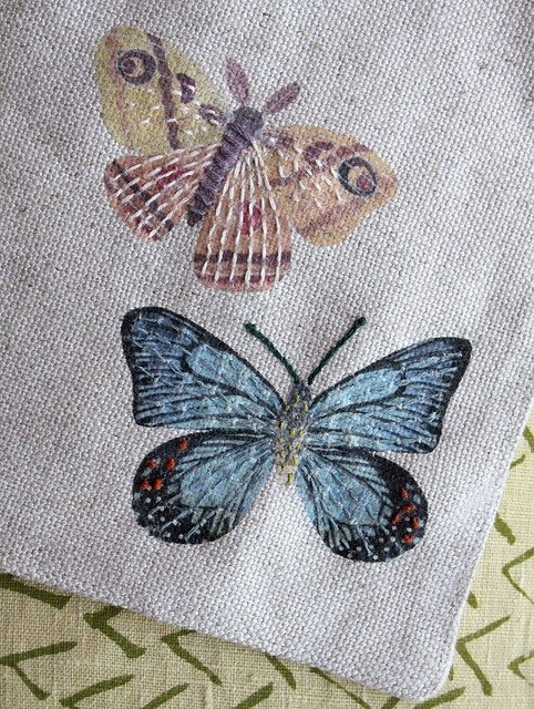 Printed and then embroidered butterflies embroidery