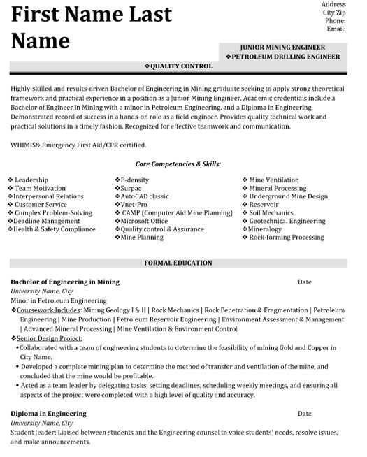 Resume Format Quality Control Engineer Resume Format Good Resume Examples Sample Resume Resume Examples