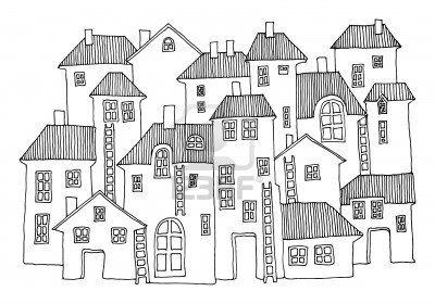 Cartoon casas de mano de dibujo Foto de archivo - 17300139
