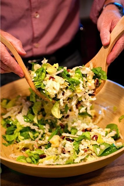 Beauchamp Orchard Salad - yummy for the holidays with Honey Crisp apples and Sweet and Spicy Pecans. ReluctantEntertainer.com