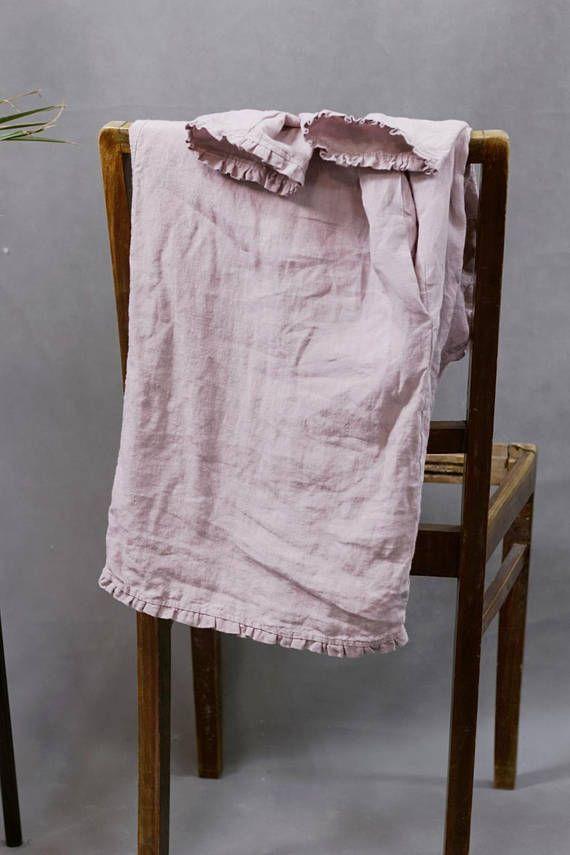 Linen tunic dusty pink linen shirt with small ruffles women