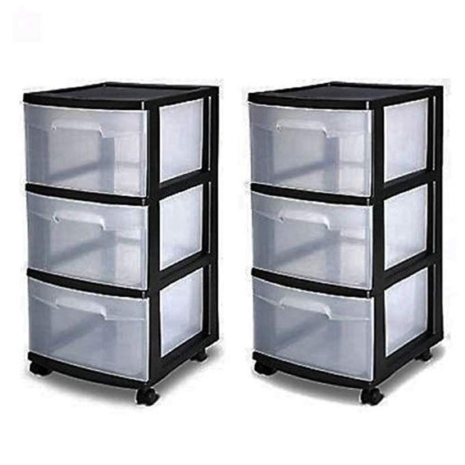 3 Drawer Organizer Cart Black Plastic Craft Storage Container Rolling Bin Set 2 Review Craft Storage Containers Organization Cart Plastic Container Storage