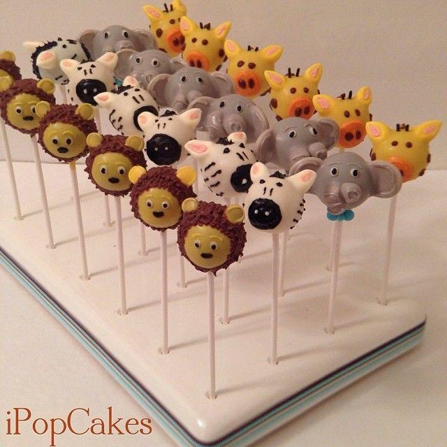 I Pop Cakes: Jungle theme baby shower cake pops.