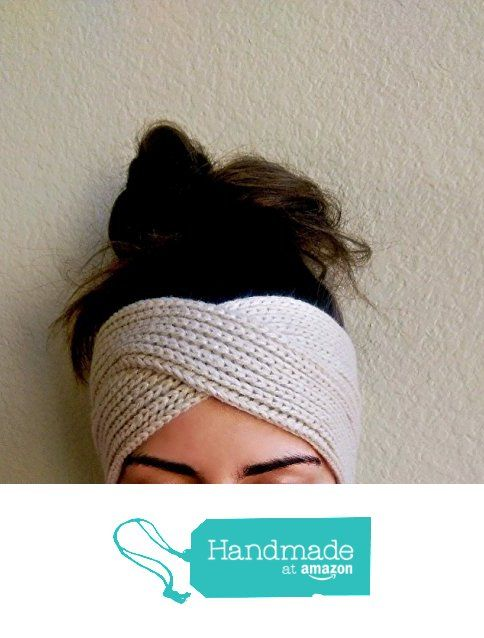 Knit Twist Headband in Beige. A Thick, Knitted Ear Warmer in a Neutral Beige Color. from The Snugglery
