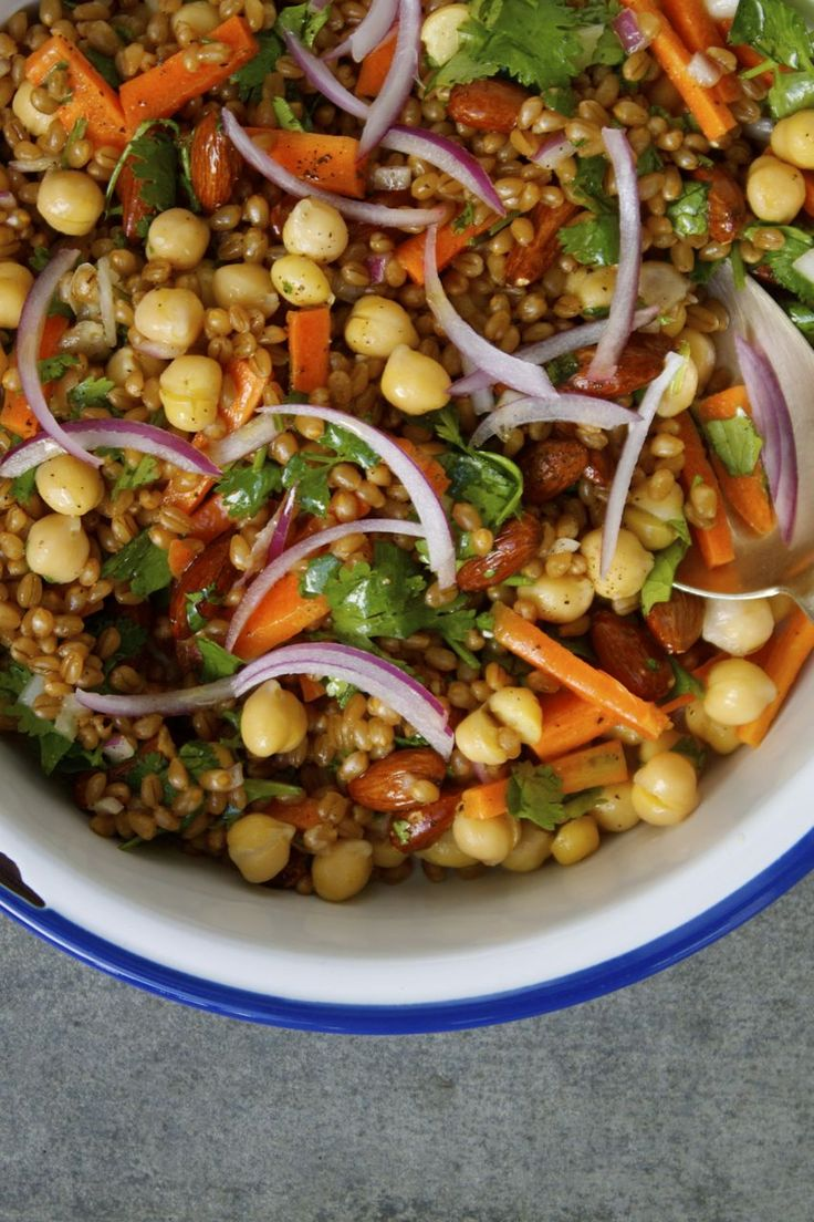 Super Chickpea + Wheat Berry Veggie Salad - In Pursuit of More | Healthy Vegetarian