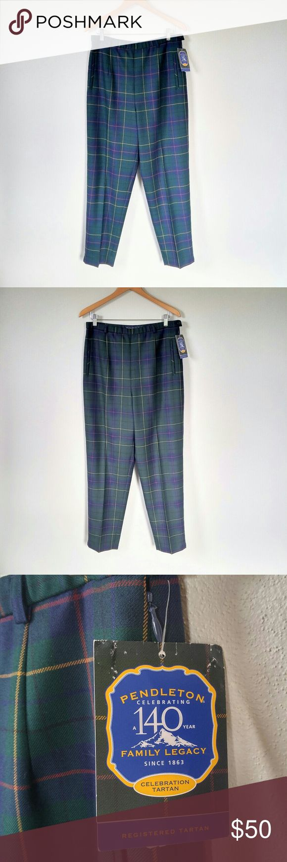 """Pendleton Plaid Wool Ladies Trousers These are too fun! New with tags, these are begging to be your leg buddies for spring while we wait out the last of the cold. High-waisted style, tapered leg.   - Size 14 -16"""" across waistband -14"""" rise -31"""" inseam - A few loose thread sticking out of seam in back, easy to trim, there is no damage on seam Pants Trousers"""