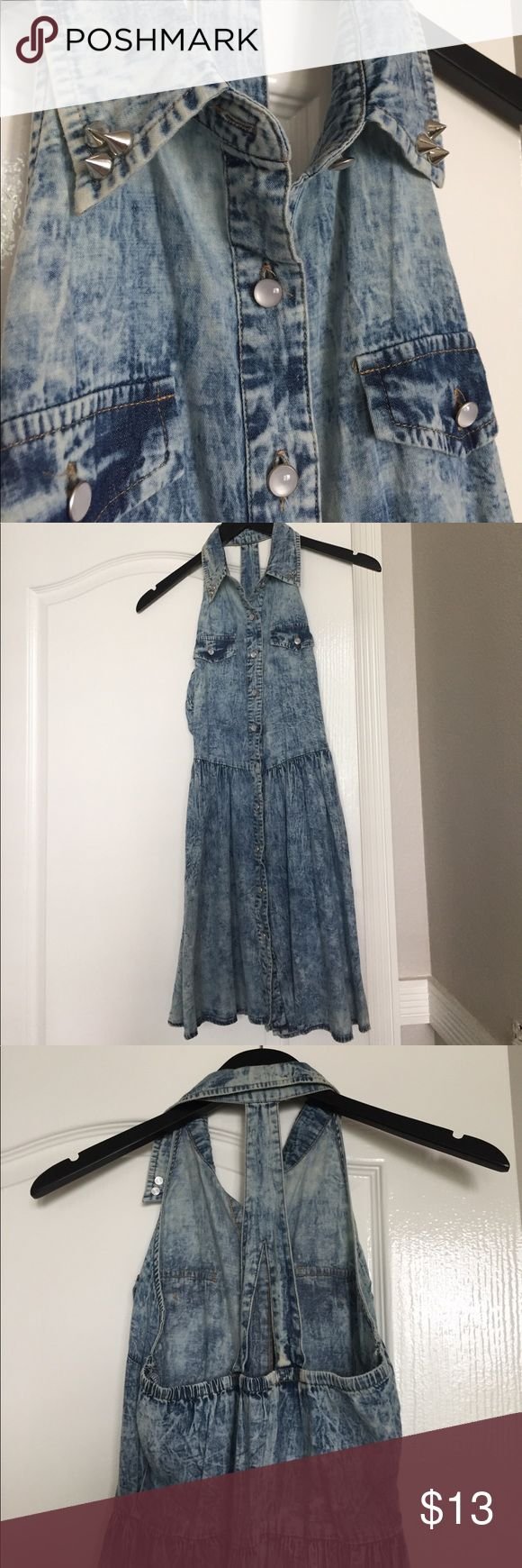 Denim Skater Dress // PACSUN 💎💙 Denim Skater girl dress from PACSUN💙💎 racer back / color with studs / buttons all the way up the front! Soooo cute and only worn once*** PacSun Dresses Mini