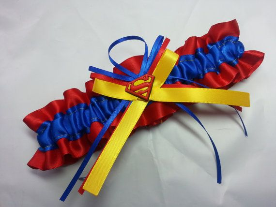 Superman Wedding Garter SINGLE by AussieWeddingGarters on Etsy, $25.00