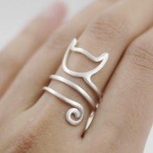 Plata de ley 925 guita del anillo del gato joven muchacha de la joyería 925 anillos de plata para para envío gratuito ajustable(China (Mainland))