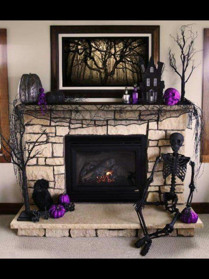 purple skull and pumpkin mantel decoration for 2014 halloween tree fireplace - Halloween Room Ideas