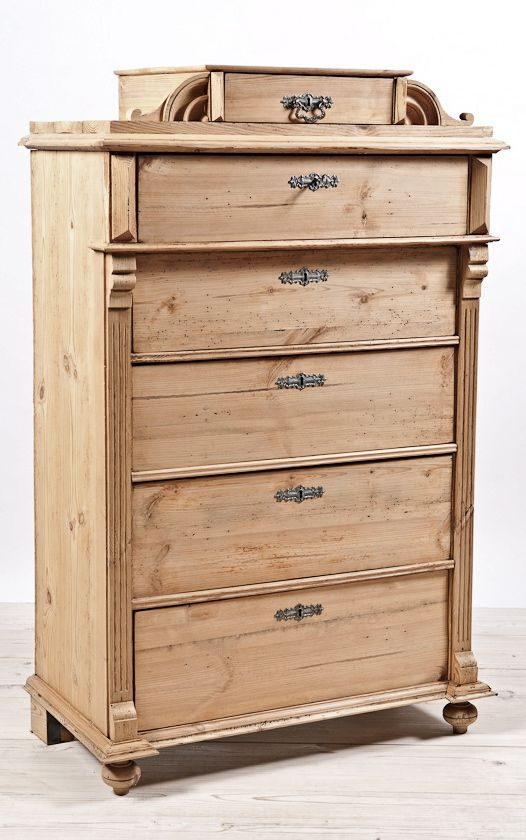 Antique Swedish Scrubbed Pine Chest Of Drawers