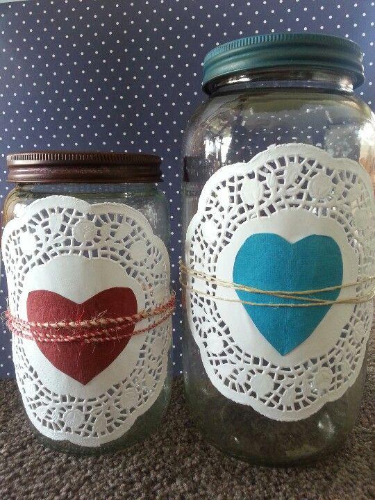 Old preserving jars dressed up.