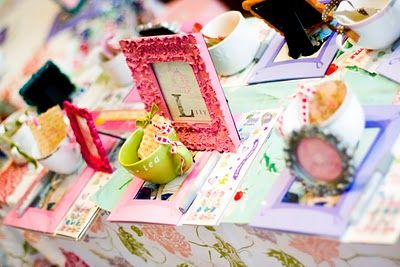 Cute place setting!  Frame & tea cup would be perfect party favors!