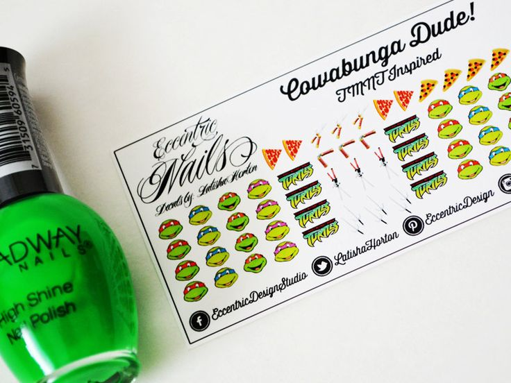 Teenage Mutant Ninja Turtle - Nail Decals  These adorable Nail Decals can also be used as a Party Favor or Gift item for a TMNT Birthday Party. Nail Designs / Nail Art / Nail Art Ideas / Nail Decals DIY / Nail Decorations Ideas / Kids Nails / Kids Nail Art / Kid Nail Designs