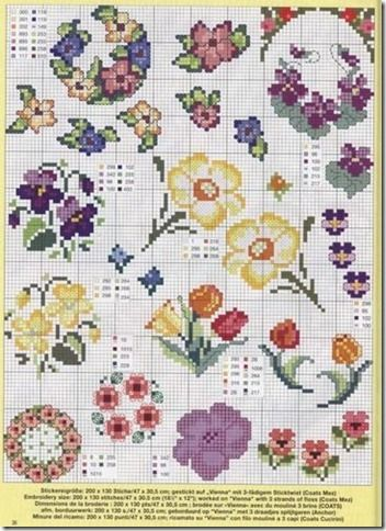 Cross Stitch Cross-Stitch Cross-Punto Punto Croce-Point-Croix-237 there are many, many pages of floral charts click on the pictures at the bottom of the page for additional charts