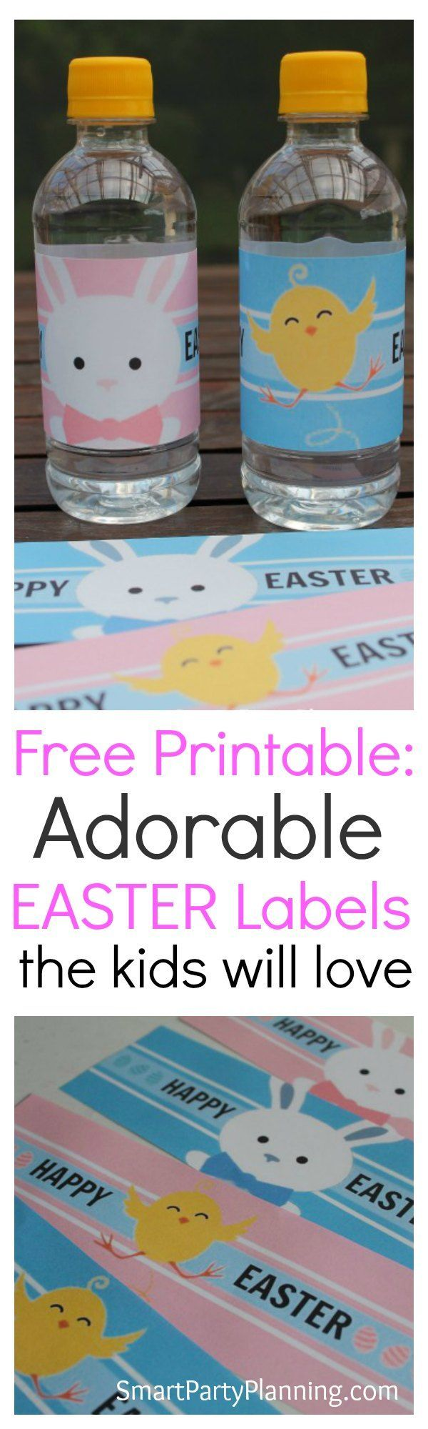 Free Easter water bottle labels. With adorable bunnies and chicks, the kids will love these printable labels to help celebrate Easter. Perfect for water or soda bottles, they are available for instant download.  They are great to use at Easter parties or simply to pack in the lunch box. #Kids #Printable #Easter #Waterbottlelabels