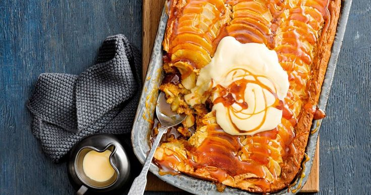 Two of our favourite sweets – self-saucing pudding and vanilla cake – are given a twist with the addition of apple and custard.