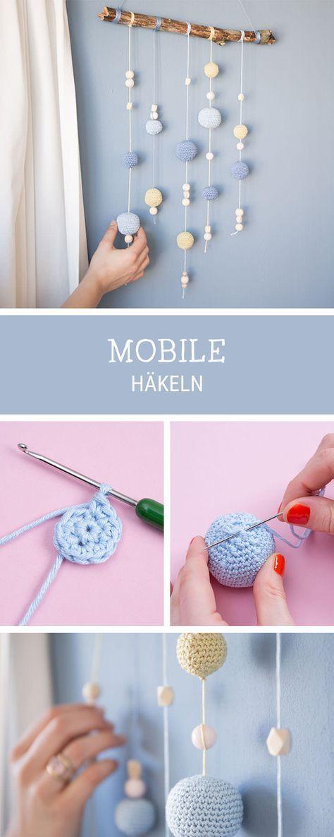 Häkelanleitung für das Kinderzimmer: Mobile häkeln für das Babybett / crocheting a mobile for the baby cot via DaWanda.com