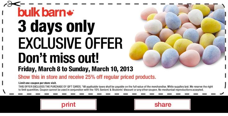 Printable Bulk Barn coupon.