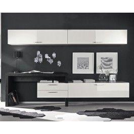 Soggiorno moderno bianco lacato lucido con scrivania - Art 1655