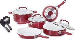Ceramic Cookware Sets, Nonstick Ceramic Coating is PTFE-Free, PFOA-Free WearEver C943SA64 Pure Living Nonstick Ceramic Coating PTFE-PFOA-Cadmium Free Dishwasher Safe 10 Piece Cookware Set, Red The handles can cook with high temperature up to 350 Degree F, even though it has soft touch silicone handles.  http://theceramicchefknives.com/ceramic-cookware-sets-nonstick-ceramic-coating-ptfe-free-pfoa-free/ 8-Inch and 10-Inch, Bialetti Aeternum Signature 7308 10 Piece Cookware Set, Black, Blue,